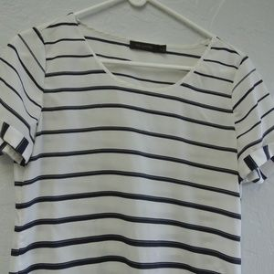 Navy White Stripe Short Sleeve Blouse Layering Top